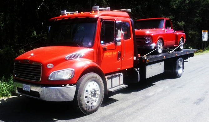 Deck truck and red classic truck